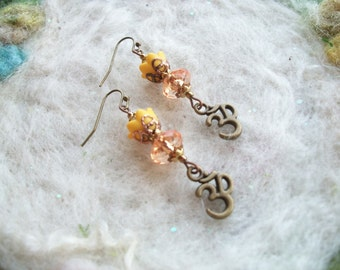 Golden Om Earrings, Lucite Flower Beads with Om Charm, Handmade, Zen, Meditation