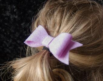 Hair Bow - Classic Lilac Felt Hair Bow with Tails