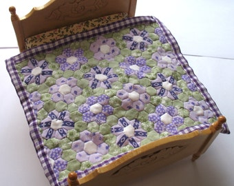 Dollhouse Miniature Patchwork Quilt in 12th Scale - Purple and Green