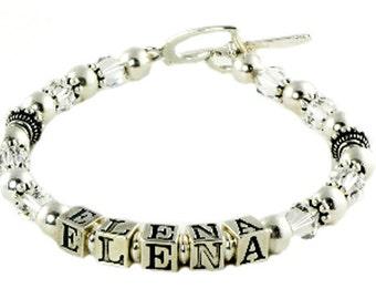 Mother's Bracelet with Crystal Diamonte birthstones in swarovski and names in sterling silver - bracelet Mom in law- daughter, grandma