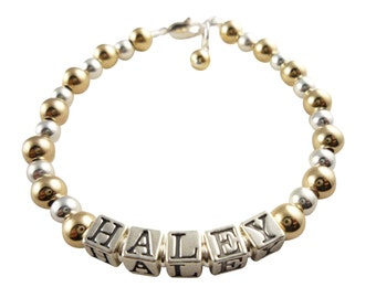 14k gold and sterling silver name bracelet for baby and girls- personalized - flower girl- baptism - wedding- communion