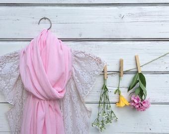 Pink Cotton Scarf, Cotton Gauze Scarf, Summer Scarf, Lightweight Scarf, Cotton Summer Scarf, Gift Idea, Jannysgirl