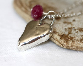 Sterling heart necklace with Ruby gemstone