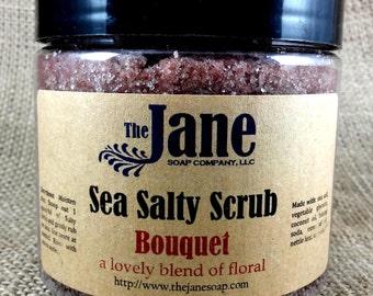 Bouquet Sea Salt Body Scrub - Essential Oil - Vegan Friendly - Relaxing Bath Scrub - 24oz