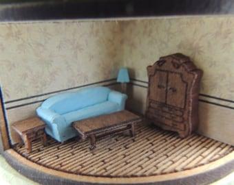 Dollhouse miniature 144th scale living room kit
