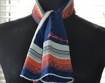 Vintage 70s Silk Scarf - Salvatore Ferragamo - Navy Blue/Grey/Terracotta - Rectangular