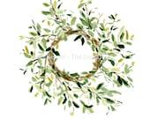 art print Mistletoe wreath. wreath watercolor print , Christmas decor Christmas plants, green, home and living, Mistletoe watercolor