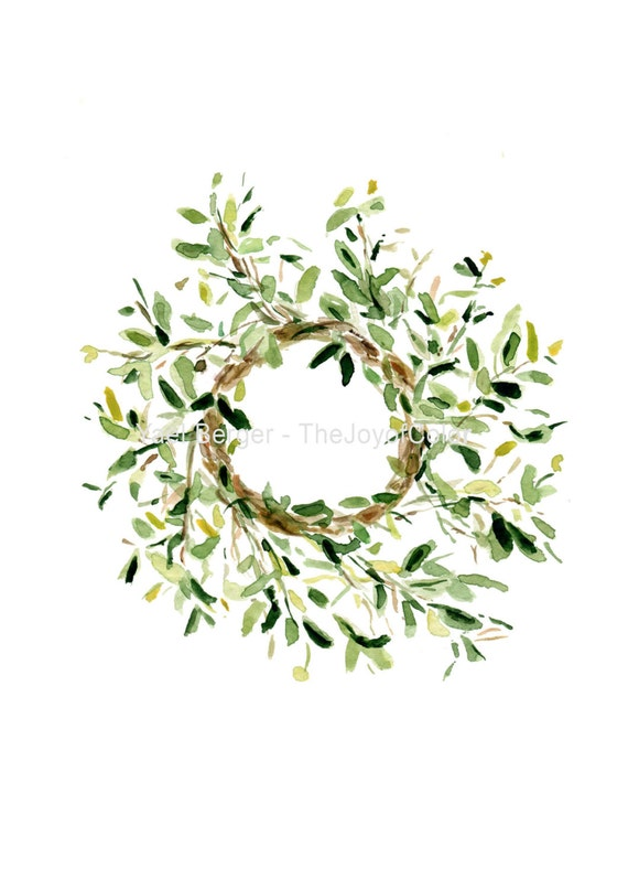 Art Print Mistletoe Wreath Wreath Watercolor By Thejoyofcolor