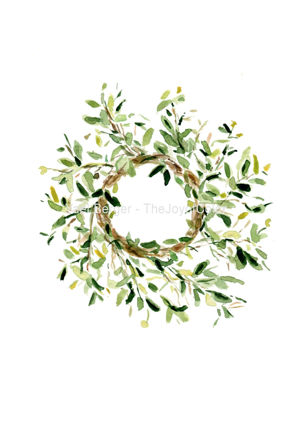 art print Mistletoe wreath wreath watercolor print