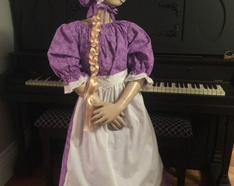 Girls Pioneer Prairie Historical Colonial Costume Dress with Bonnet & Apron Girls size 10/12 READY to Ship