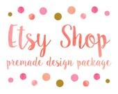Etsy Shop Design, Etsy Banner Shop Set, Etsy Cover & Shop Icon, Logo Design / Watercolor Polka Dot, Coral Pink Golden Glitter Caligraphy