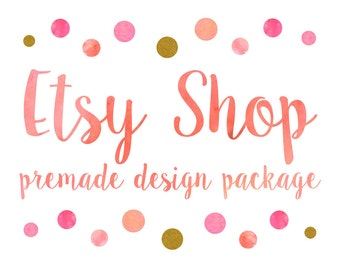 Etsy Shop Design, Etsy Banner Shop Set, Etsy Cover & Shop Icon, Logo Design / Watercolor Polka Dot, Coral Pink Golden Glitter Caligraphy