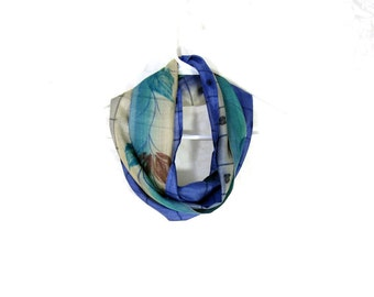 Silk Scarf Sari Silk Infinity Scarf Women Scarf Cobalt Blue Scarf Fall Scarf Summer Scarf Lightweight Scarf Upcycled Scarf Eco Fashion Green