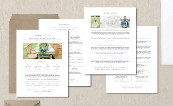 Photography Pricing Template Wedding Planner Guide