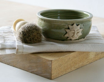 Stoneware shaving bowl glazed in olive green - hand thrown british pottery