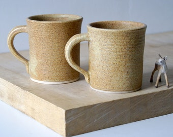 Set of two fluted mugs glazed in natural brown - hand thrown stoneware pottery