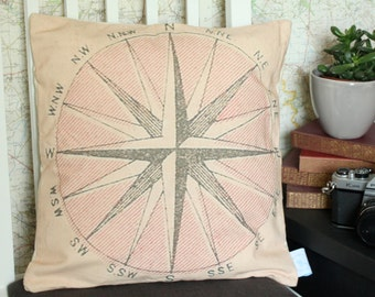 Vintage Compass cushion or pillow - perfect for adventurers and navigators!