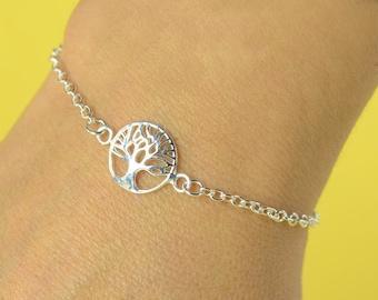 Tree of life Sterling silver bracelet, Tree bracelet, friendship bracelet,delicate  bracelet, Life bracelet, Karma bracelet