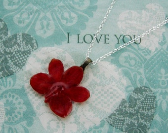 REAL Orchid Flower Pendant - Dark Orange Red Orchid Necklace - Sterling Silver Chain - Choice of Chain Length