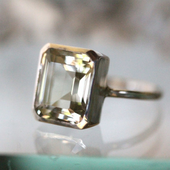 emerald cut green amethyst sterling silver ring cocktail