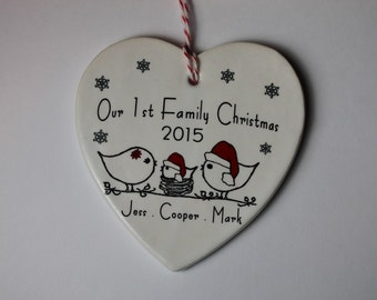 CUSTOM - Our 1st Family Christmas Ornament - your names and year