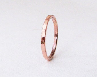 Womens Wedding Band Rose Gold Ring Hammered Gold Wedding Band Simple Wedding Rings 14k Thin Gold Band Rose Gold Rose Guard Ring Gift for Her