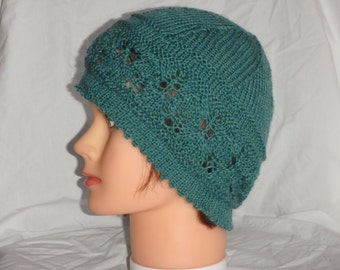 Lace Beanie with Picot Edge, Knitting Pattern