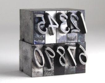 NUMBERS - 48pt Metal Letterpress - Script