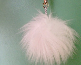White Fake Fur Pom Pom Keychain, Bag Charm, Faux Fur Purse Charm, Friend Gift