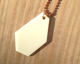 Large Geometric Necklace - Statement Jewelry - Boho Chic Lasercut Necklace - Cream Acrylic Plastic