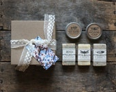 Bath + Body Gift Box Set, 3 small cold process soaps + lip balm + hand + body salve, gift box, spa + relaxation, all natural, gift for her