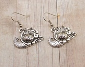 Earrings - Pewter Cornucopia - Thanksgiving - Horn of Plenty - Giving Thanks - Holiday Charms - Pumpkin - Basket
