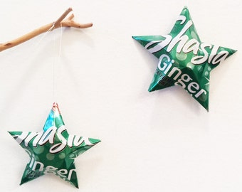 Shasta Ginger Ale Stars Christmas Ornaments Soda Can Upcycled Repurposed