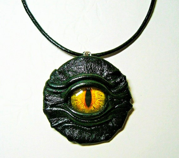 Black leather pendant with dragon eye.  Leather necklace with snake eye. Gothic fashion pendant.  Halloween necklace.