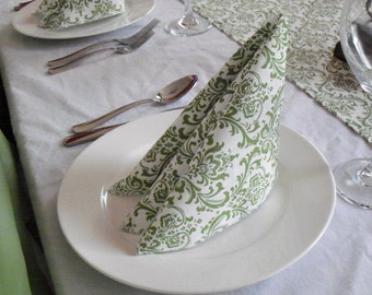 Sage Green Napkins Floral Damask Linens Fabric Wedding Table Centerpiece Shower Rehearsal Party Napkins