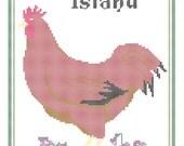 Rhode Island State Bird, Flower and Motto Cross Stitch Pattern PDF