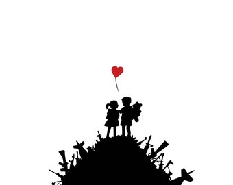 Children with a Heart Balloon Atop a Weapon Pile BANKSY Unofficial Custom T Shirt