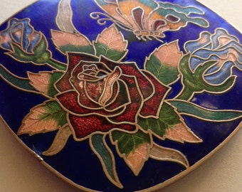 Cloisonne Belt Buckle Butterfly Rose Cobalt Blue