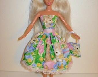 Handmade barbie clothes, CUTE Easter dress and bag 4 barbie doll