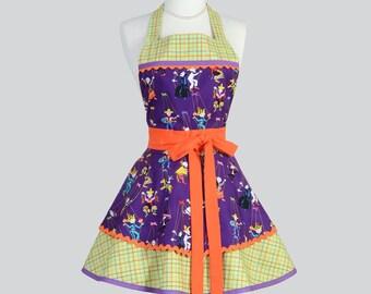 SALE  Ruffled Retro Apron . Cute Full Vintage Style Kitchen Womens Apron Cute Folklore Marionetes Purple Floral Ruffled Apron Full Apron Per