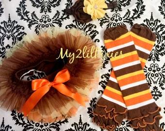 THANKSGIVING TUTU ruffles all the way around, leg warmers and headband set. Chiffon Baby Tutu Bloomer, brown, yellow orange, photo prop