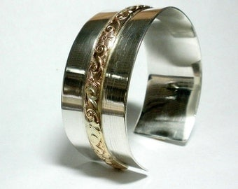 Silver Cuff Bracelet, Large Cuff Bracelet, Gold and Silver Cuff Bracelet, Sterling Silver