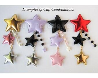 CUSTOM Triple Star Clip Hair Brooch Accessory Fairy Kei Lolita Pastel Kawaii