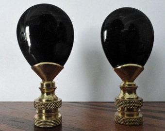 "1 Black Onyx Lamp Finial 2 1/2"" tall"