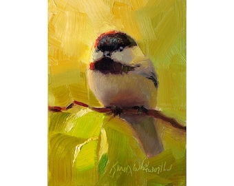Spring Chickadee Wall Art Print - Springtime Greens and a Plump, Happy Bird in This Cheerful Painting
