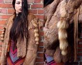 50's Brown Vintage Fur w/ Racoon tail shoulder fur coat