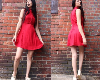 Vintage Red Skater Dress with Lace Detailing on Top