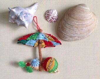 Beach Umbrella Christmas Ornament