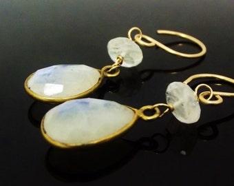 Moonstone Dangle Earrings, Gold Vermeil Earrings, ccsdesigns01