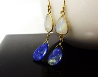Lapis Moonstone Dangle Earrings, Gold Earrings, ccsdesigns01